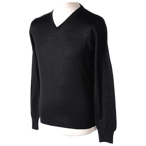 V-neck jumper for clergymen black plain knit In Primis 3