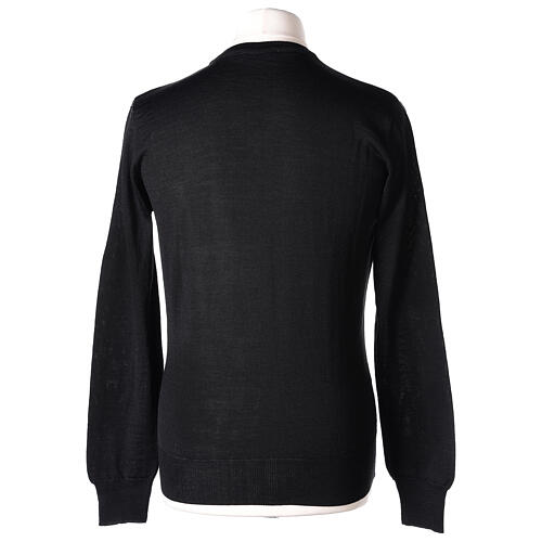 V-neck jumper for clergymen black plain knit In Primis 5