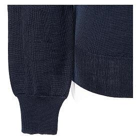 Jersey sacerdote azul punto al derecho cuello V 50% lana merina 50% acrílico In Primis s4