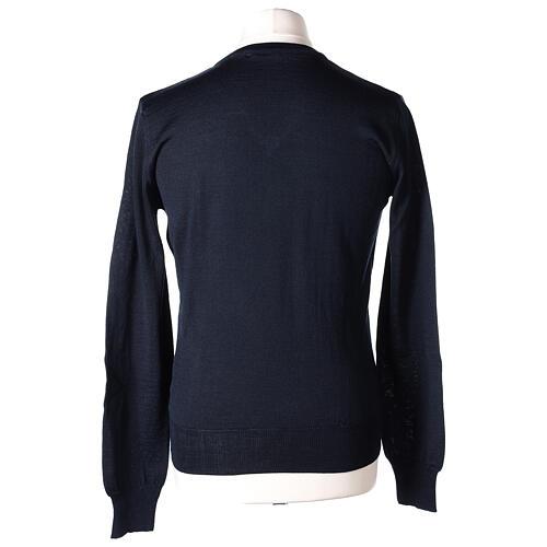 Jersey sacerdote azul punto al derecho cuello V 50% lana merina 50% acrílico In Primis 5