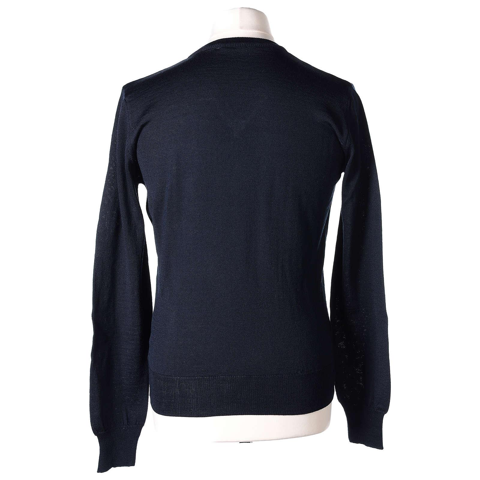 Pull prêtre col en V bleu jersey simple In Primis 4