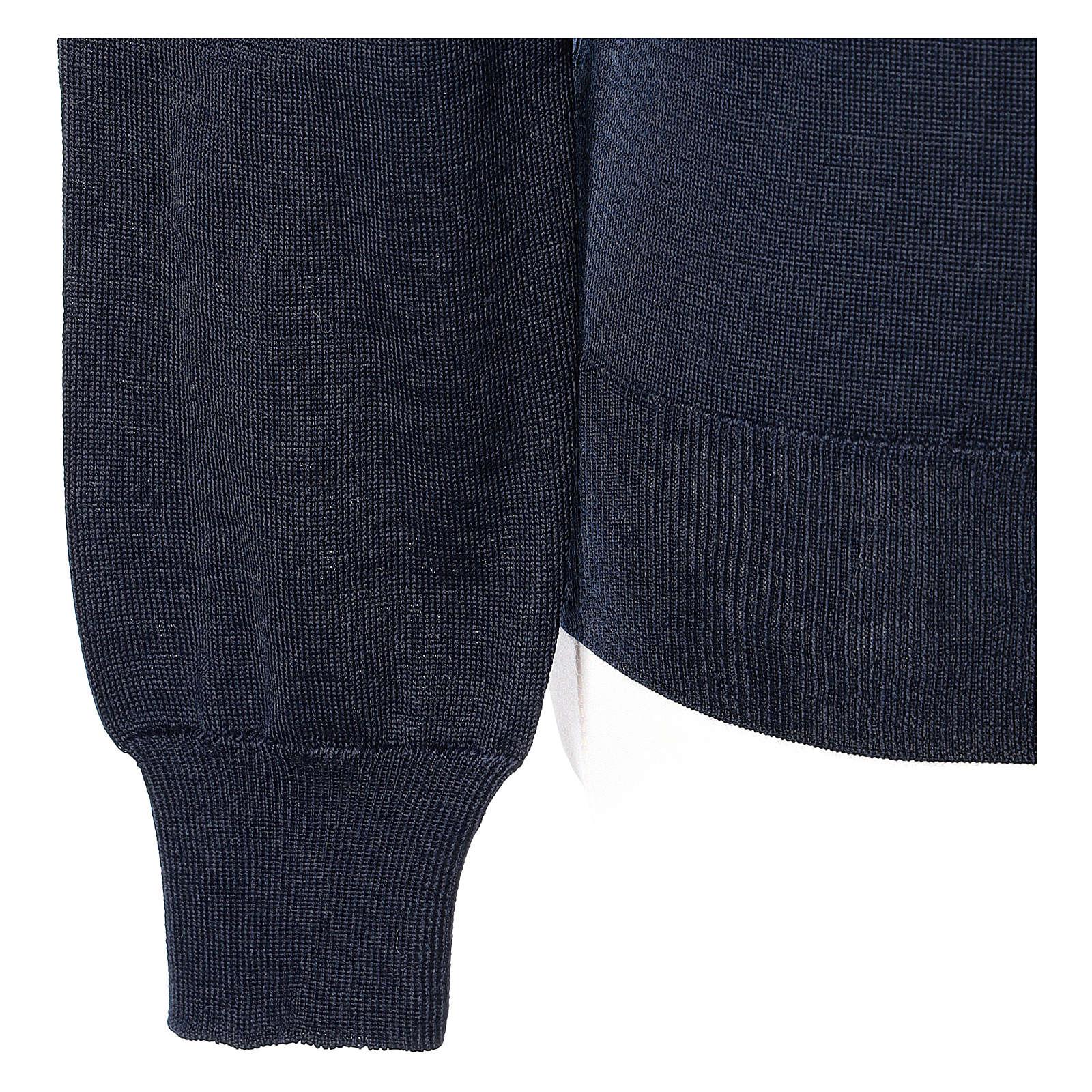 Pullover sacerdote blu maglia rasata collo a V 50% lana merino 50% acrilico In Primis 4