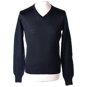 Pullover sacerdote blu maglia rasata collo a V 50% lana merino 50% acrilico In Primis s1