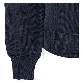 Pullover sacerdote blu maglia rasata collo a V 50% lana merino 50% acrilico In Primis s4