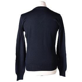 Pullover sacerdote blu maglia rasata collo a V 50% lana merino 50% acrilico In Primis s5