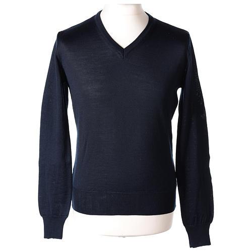 Pullover sacerdote blu maglia rasata collo a V 50% lana merino 50% acrilico In Primis 1