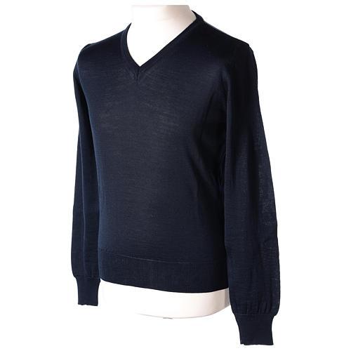 Pullover sacerdote blu maglia rasata collo a V 50% lana merino 50% acrilico In Primis 3