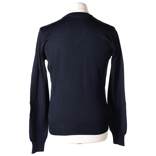 Pullover sacerdote blu maglia rasata collo a V 50% lana merino 50% acrilico In Primis 5