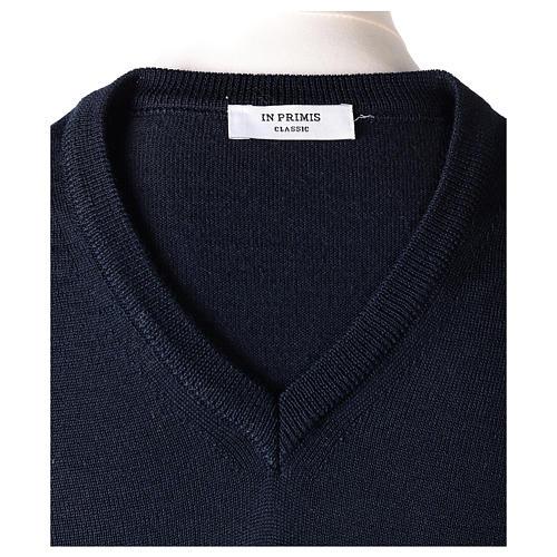 Pullover sacerdote blu maglia rasata collo a V 50% lana merino 50% acrilico In Primis 6