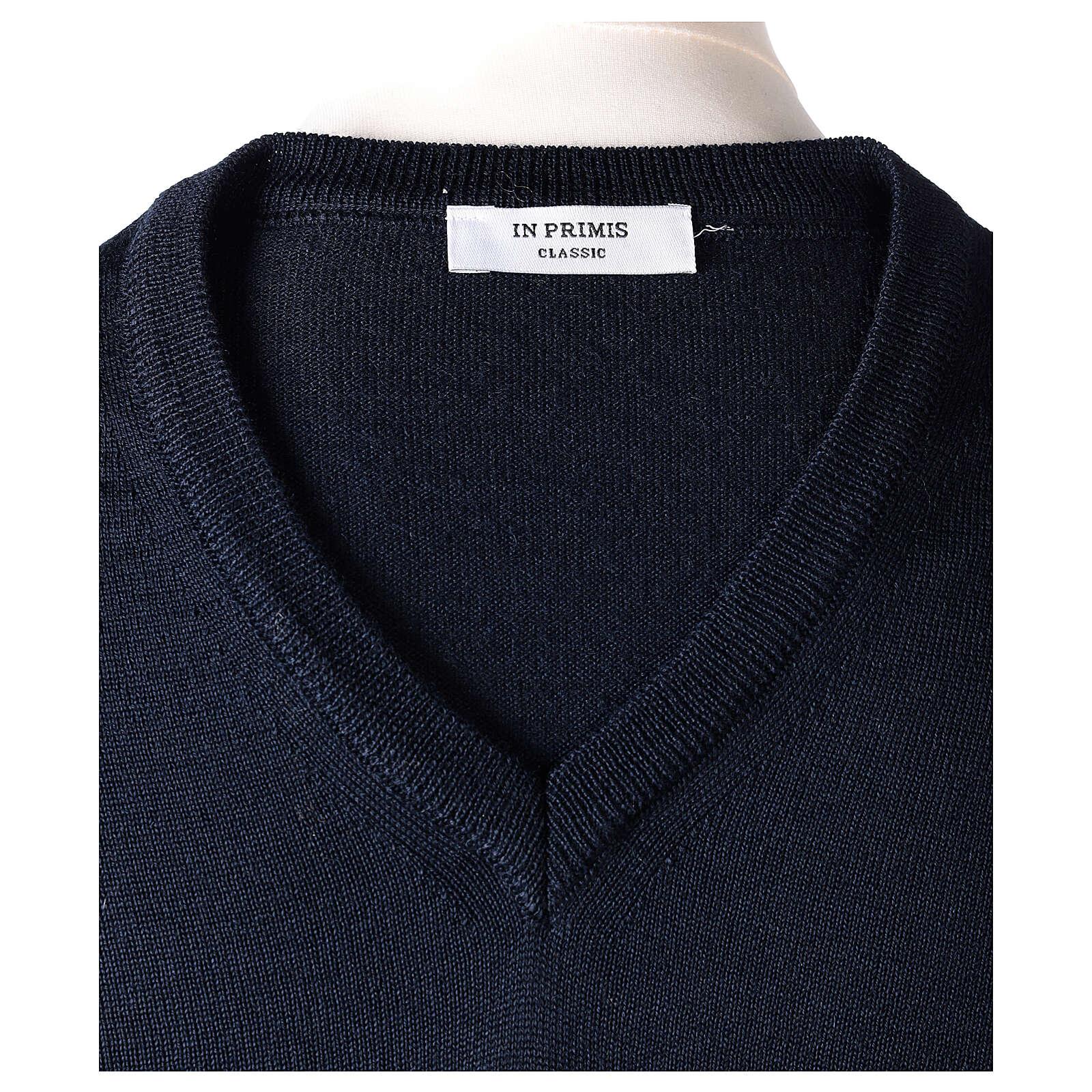 V-neck jumper for clergymen blue plain knit In Primis 4