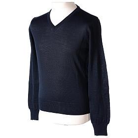 V-neck jumper for clergymen blue plain knit In Primis s3