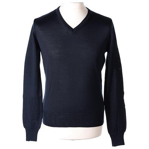 V-neck jumper for clergymen blue plain knit In Primis 1