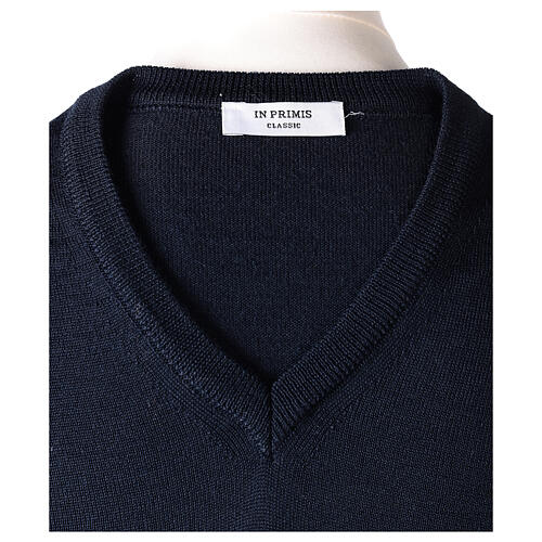 V-neck jumper for clergymen blue plain knit In Primis 6