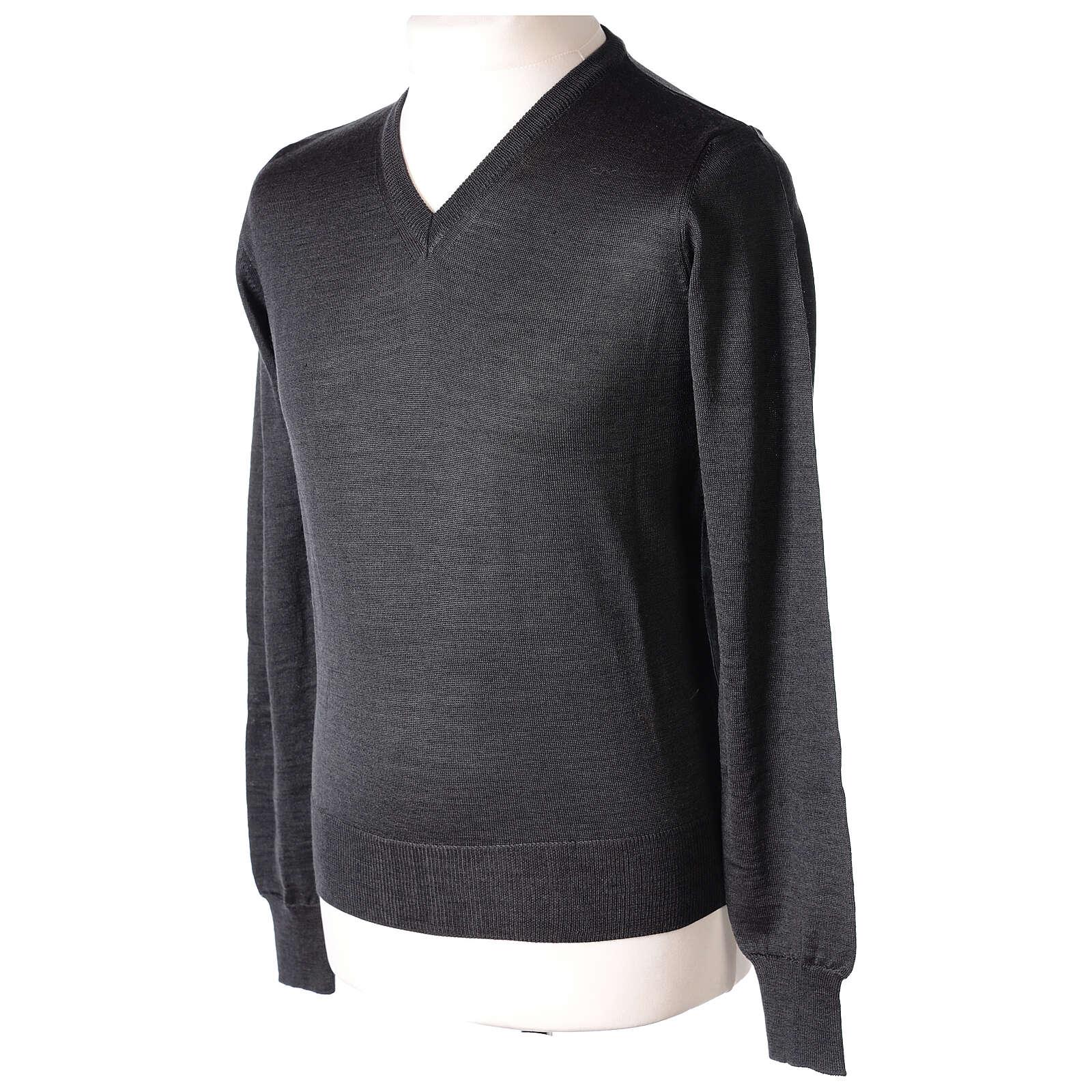 Jersey sacerdote cuello V gris antracita 50% lana merina 50% acrílico In Primis 4