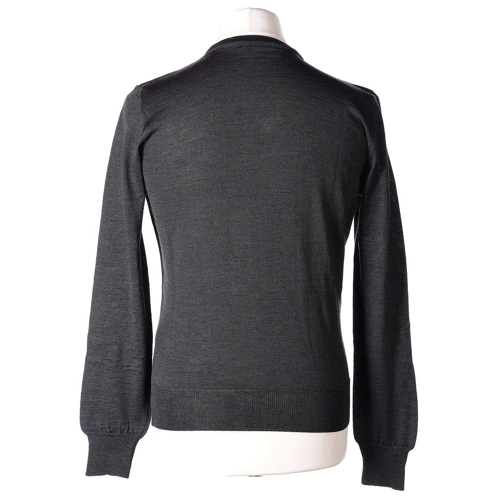 Pull prêtre col en V gris anthracite jersey simple In Primis 4