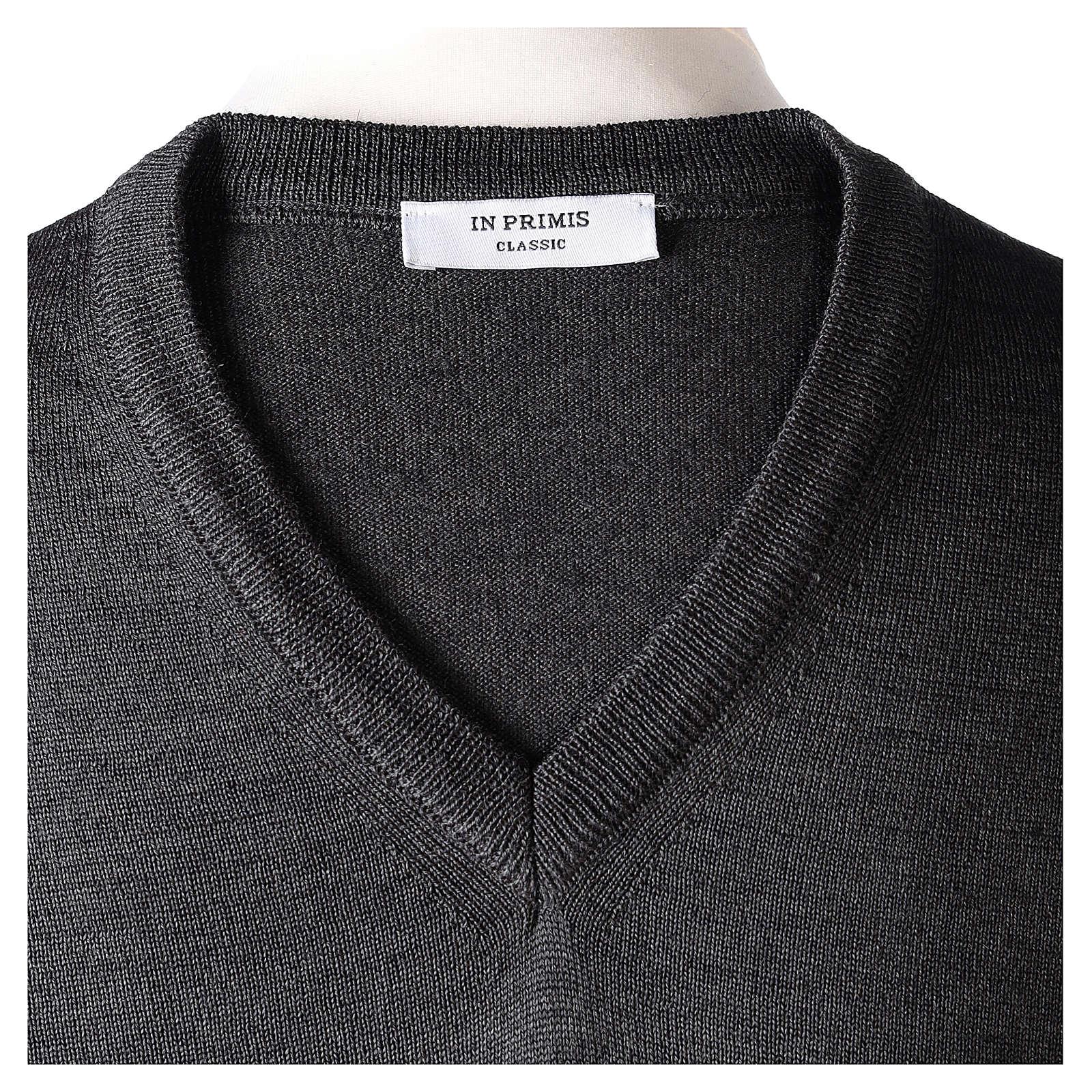 Pullover sacerdote collo a V grigio antracite 50% lana merino 50% acrilico In Primis 4