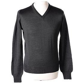 Pullover sacerdote collo a V grigio antracite 50% lana merino 50% acrilico In Primis s1