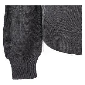 Pullover sacerdote collo a V grigio antracite 50% lana merino 50% acrilico In Primis s4