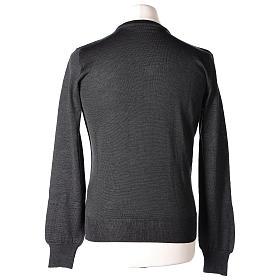 Pullover sacerdote collo a V grigio antracite 50% lana merino 50% acrilico In Primis s5