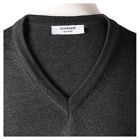 Pullover sacerdote collo a V grigio antracite 50% lana merino 50% acrilico In Primis s6