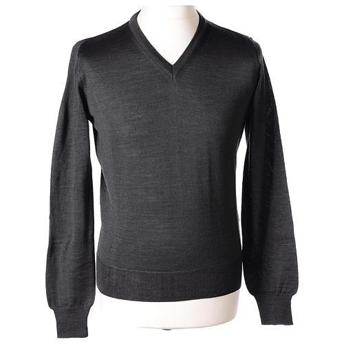 Pullover sacerdote collo a V grigio antracite 50% lana merino 50% acrilico In Primis 1
