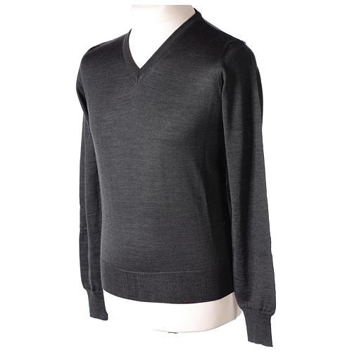 Pullover sacerdote collo a V grigio antracite 50% lana merino 50% acrilico In Primis 3