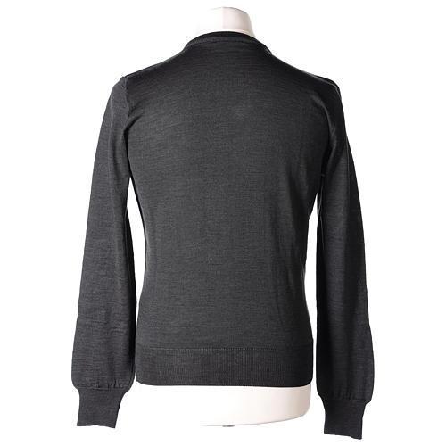 Pullover sacerdote collo a V grigio antracite 50% lana merino 50% acrilico In Primis 5