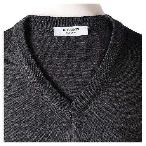 Pullover sacerdote collo a V grigio antracite 50% lana merino 50% acrilico In Primis 6