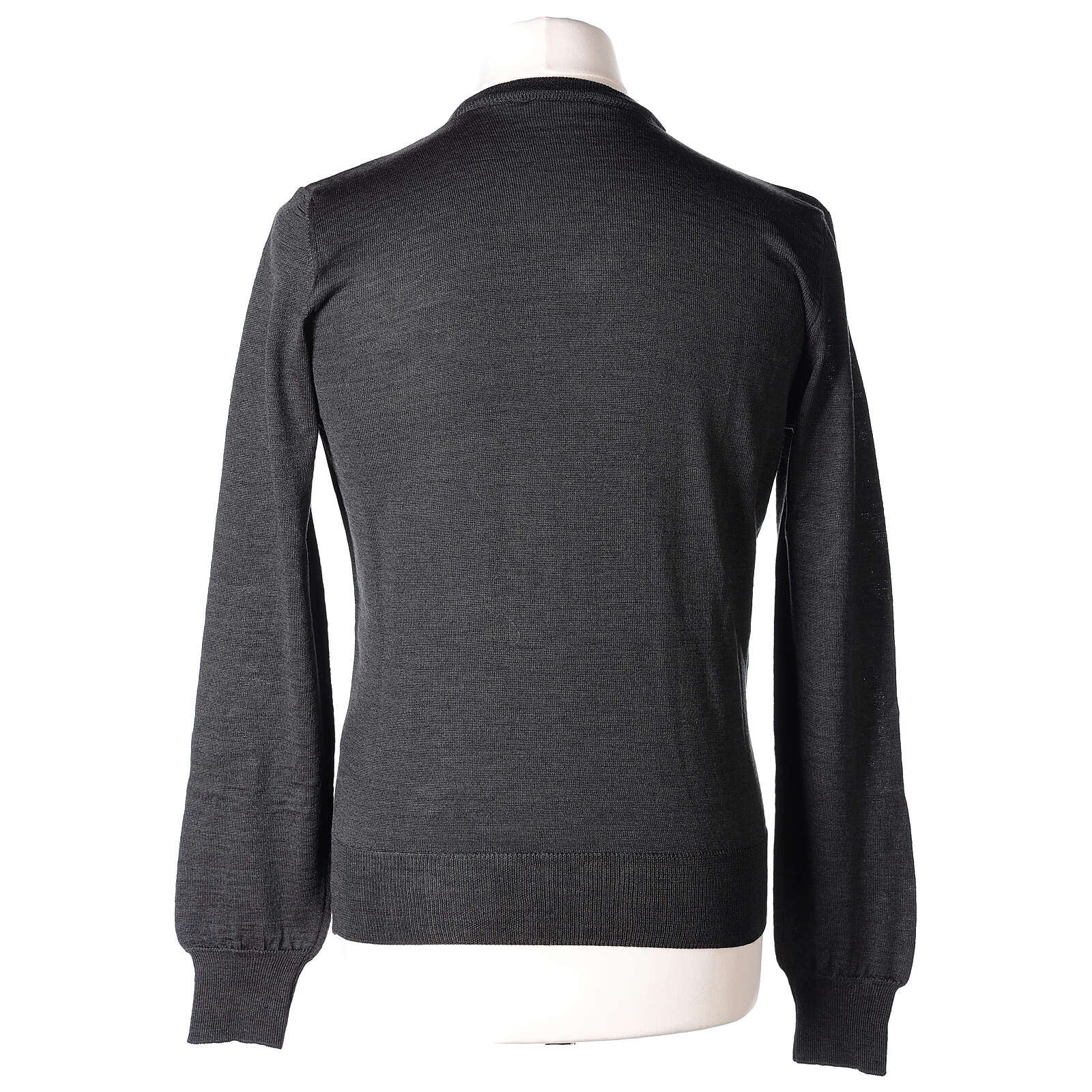 V-neck jumper for clergymen grey plain knit In Primis 4