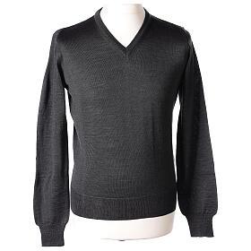 V-neck jumper for clergymen grey plain knit In Primis s1