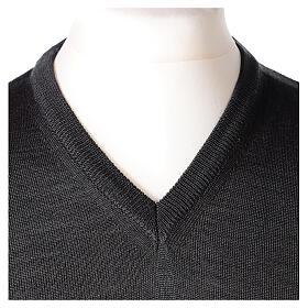 V-neck jumper for clergymen grey plain knit In Primis s2