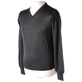 V-neck jumper for clergymen grey plain knit In Primis s3