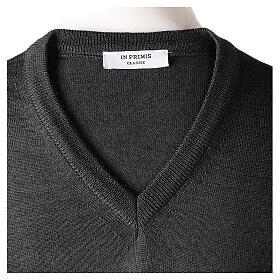 V-neck jumper for clergymen grey plain knit In Primis s6
