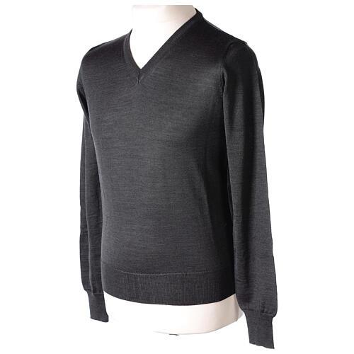 V-neck jumper for clergymen grey plain knit In Primis 3