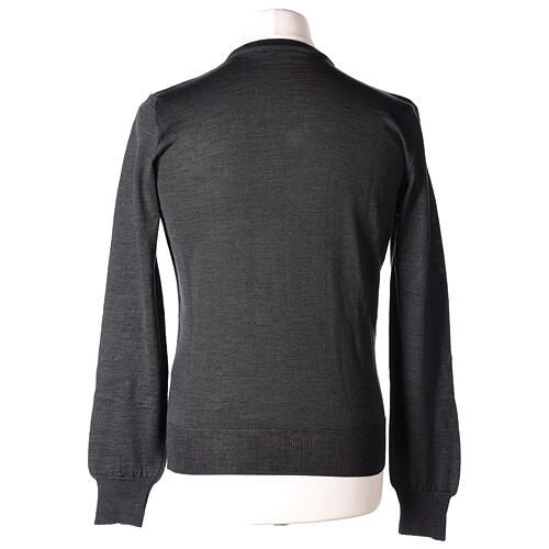 V-neck jumper for clergymen grey plain knit In Primis 5
