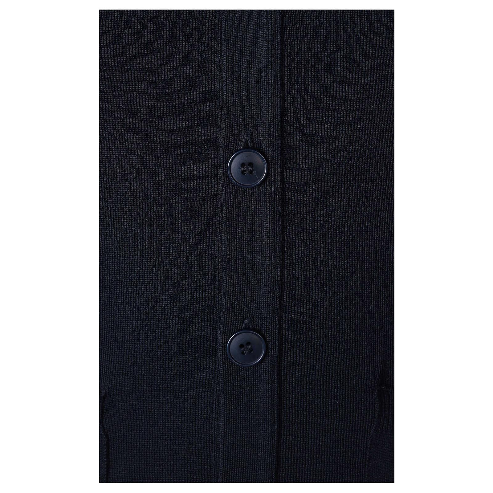 Chaleco sacerdote azul abierto con bolsillos y botones In Primis 4