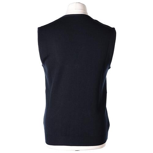 Chaleco sacerdote azul abierto con bolsillos y botones In Primis 6