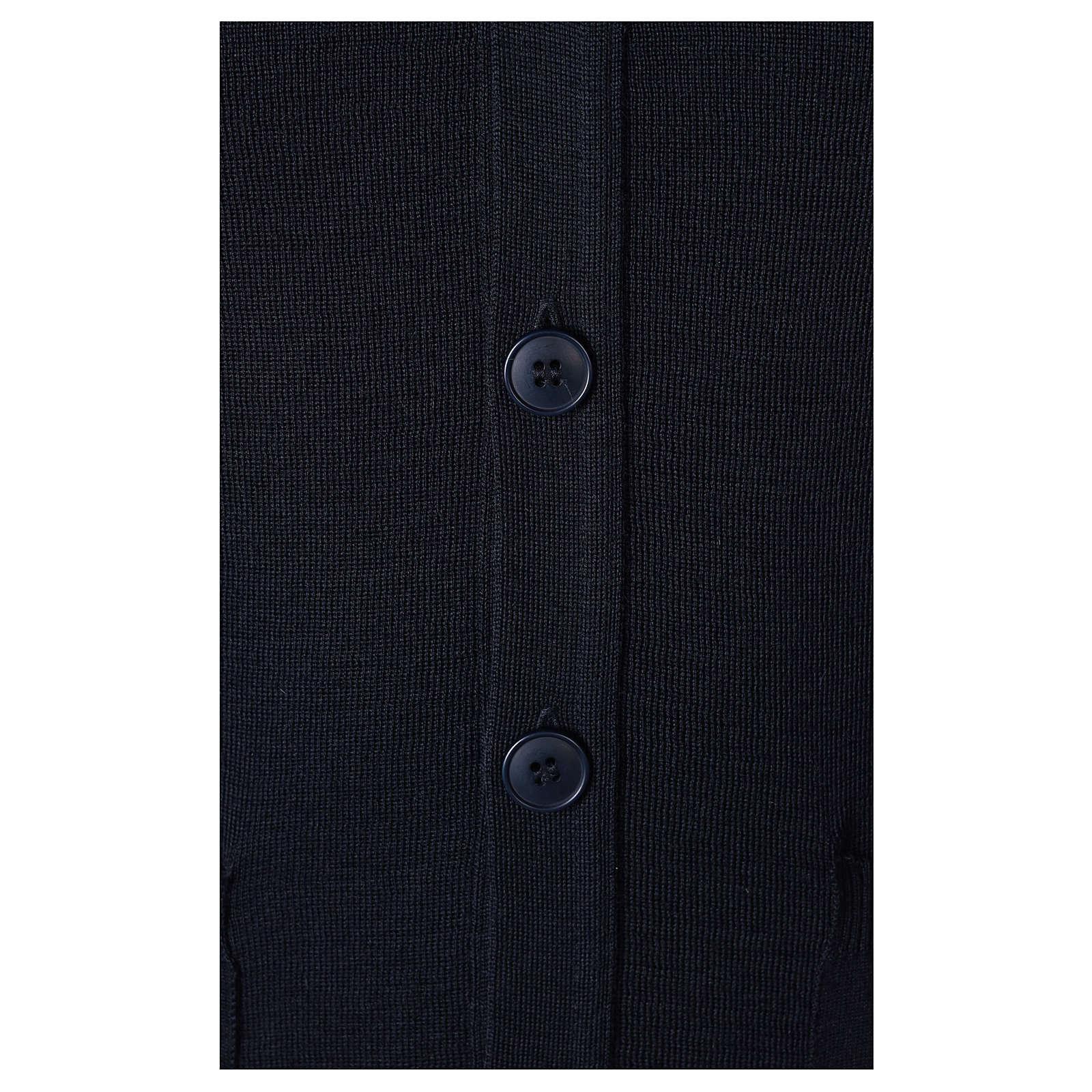 Gilet prêtre bleu avec poches et boutons In Primis 4