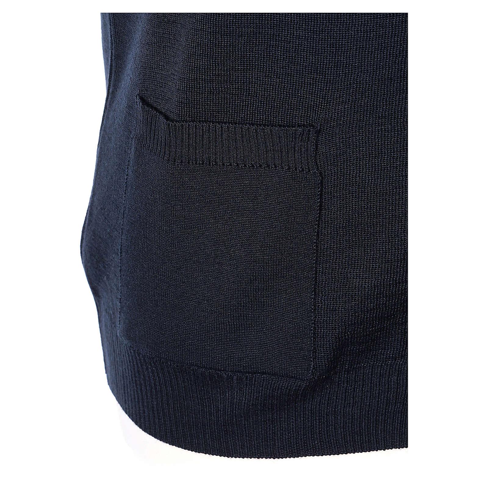 Colete sacerdote azul escuro aberto com bolsos e botões In Primis 4