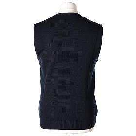 Colete sacerdote azul escuro aberto com bolsos e botões In Primis s6