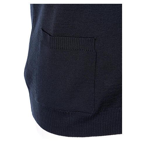 Colete sacerdote azul escuro aberto com bolsos e botões In Primis 5