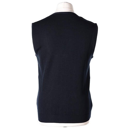 Colete sacerdote azul escuro aberto com bolsos e botões In Primis 6