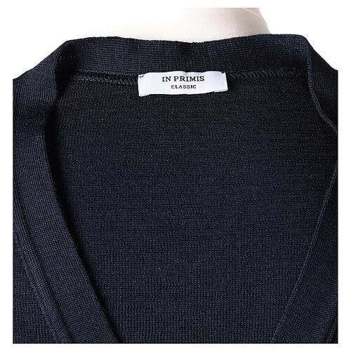 Colete sacerdote azul escuro aberto com bolsos e botões In Primis 7