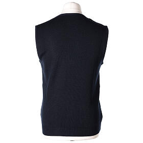 Blue button-front cardigan for clergymen with pockets In Primis s6