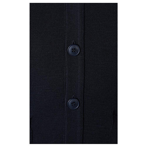Blue button-front cardigan for clergymen with pockets In Primis 4