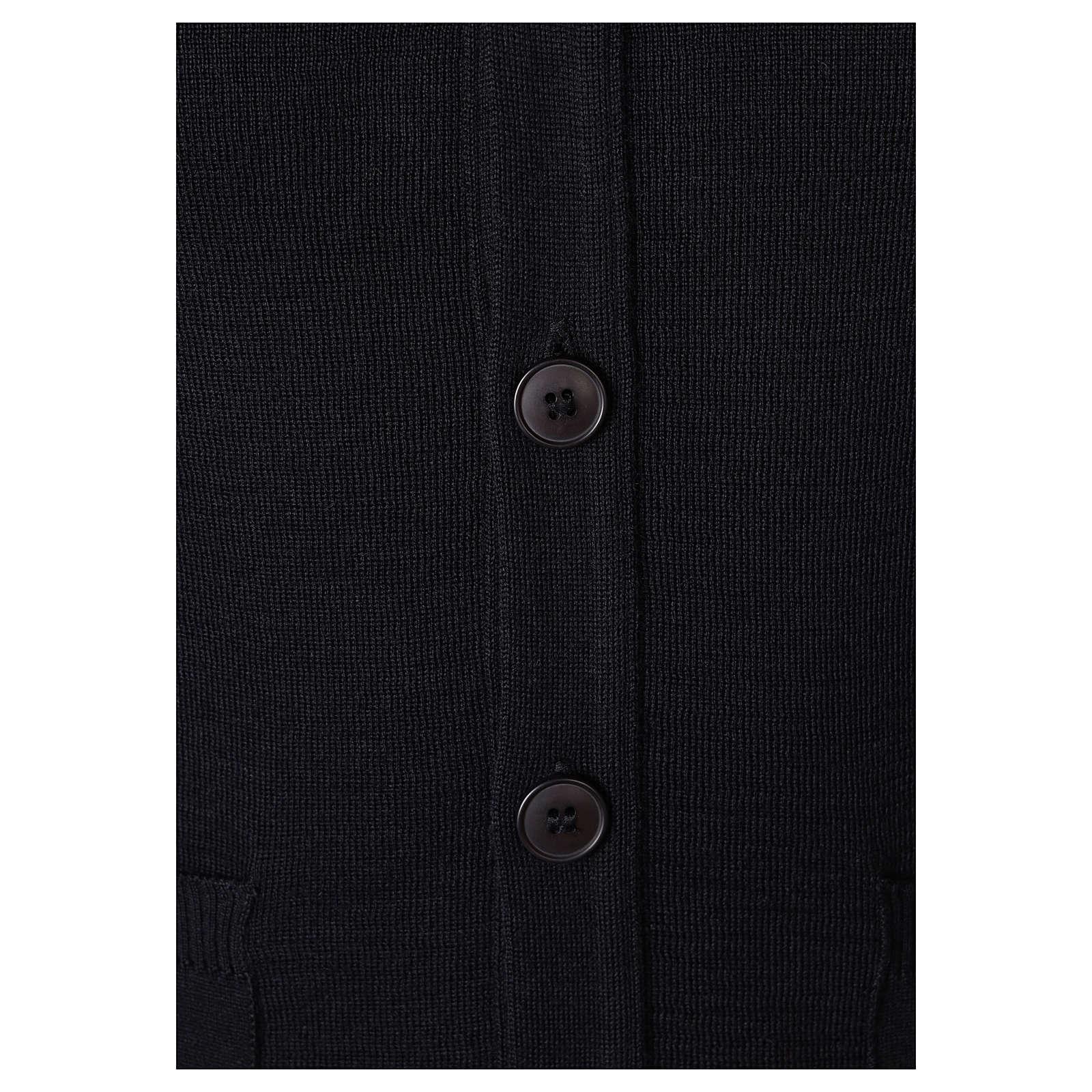 Gilet prêtre noir avec poches et boutons In Primis 4