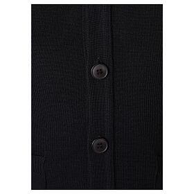 Colete sacerdote preto aberto com bolsos e botões In Primis s4