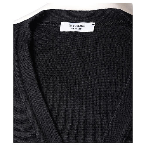 Colete sacerdote preto aberto com bolsos e botões In Primis 7
