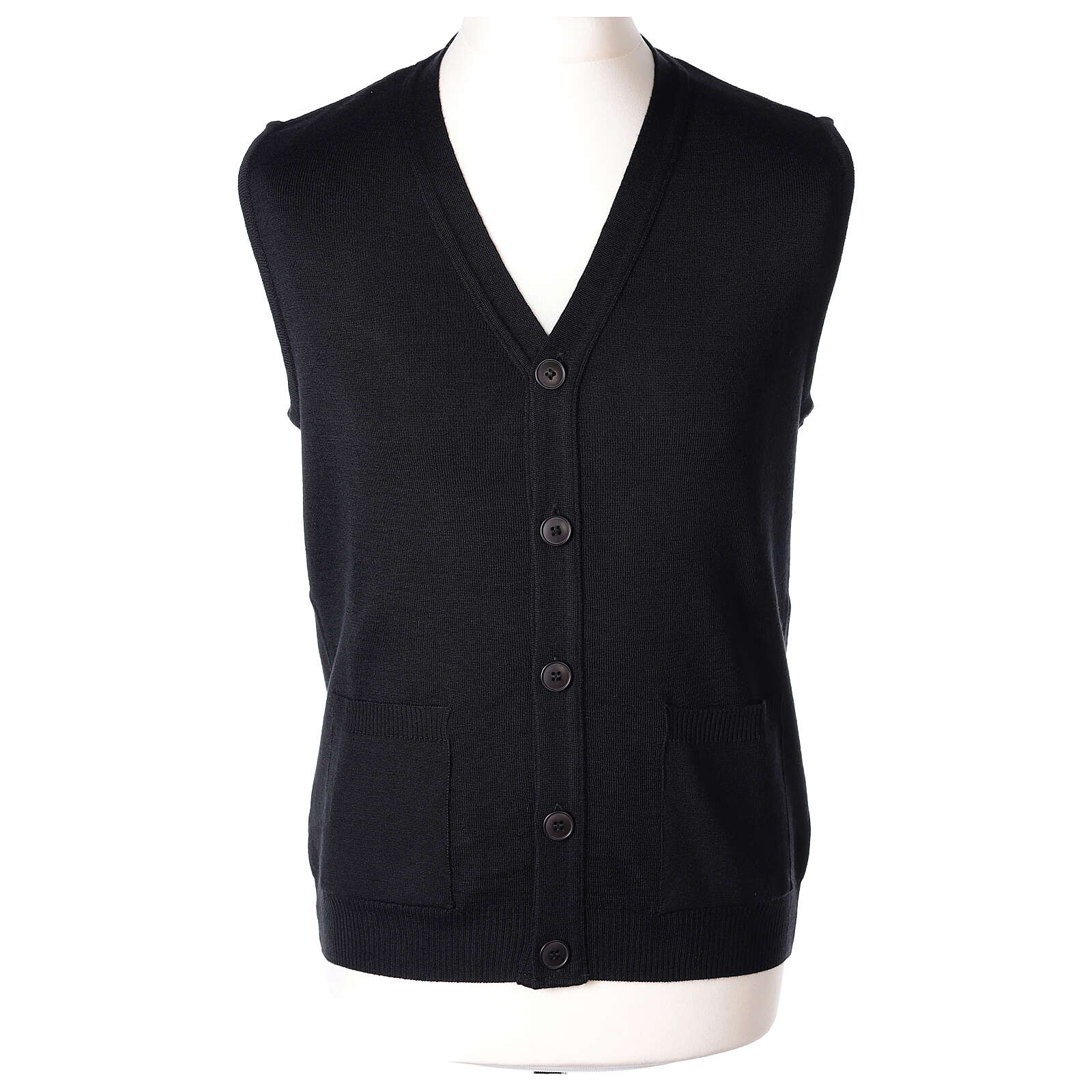 Black button-front cardigan for clergymen with pockets In Primis 4