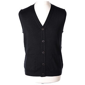 Black button-front cardigan for clergymen with pockets In Primis s1